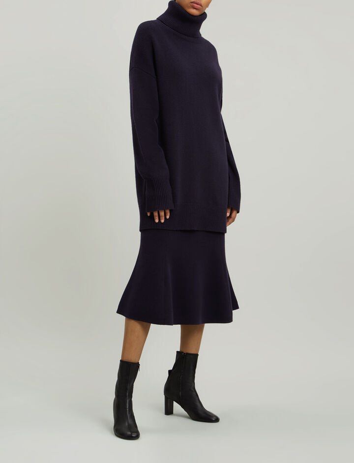 Joseph, Roll Neck Soft Wool Knit, in NAVY