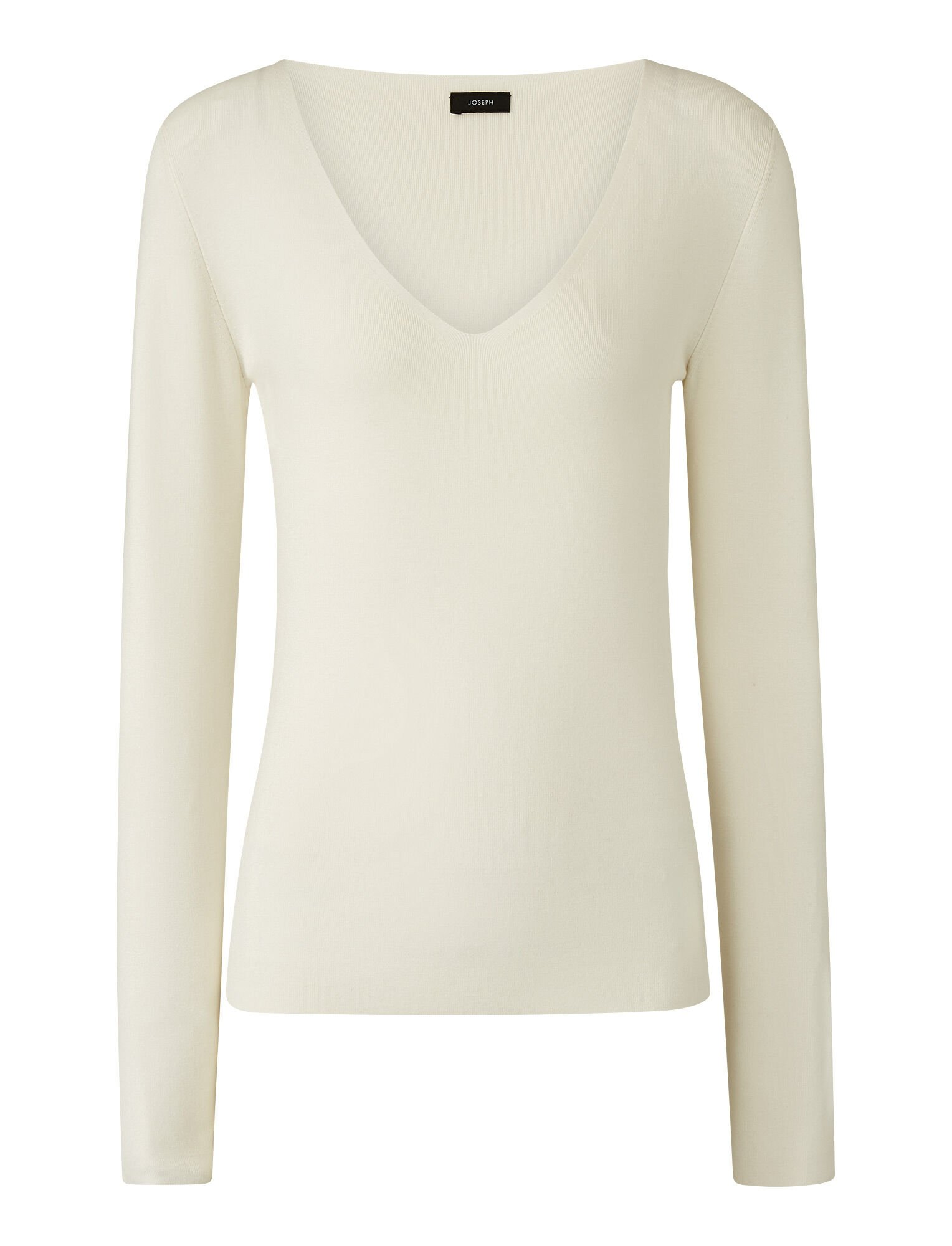 Joseph, V Neck Silk Stretch Knit, in IVORY