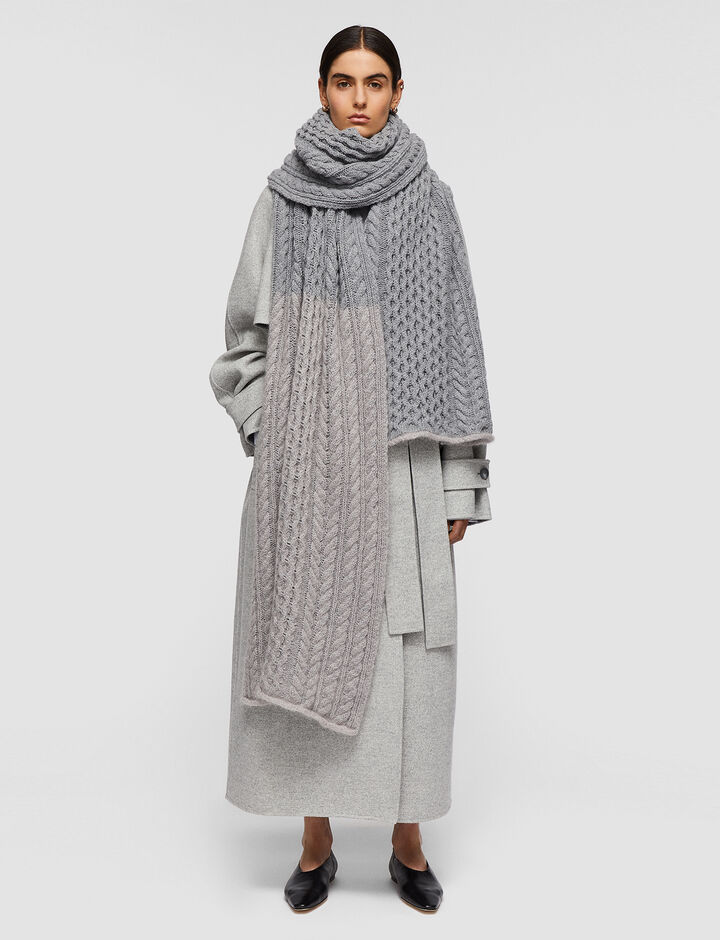 Joseph, Cable Knit Scarf, in Nickel