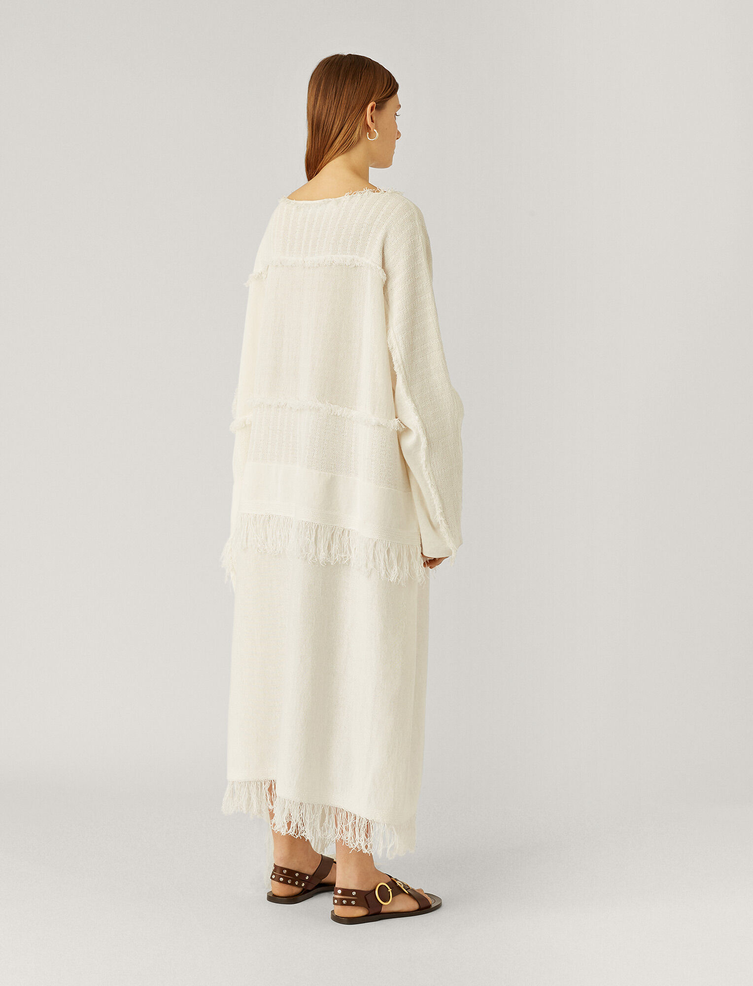 Joseph, Kaftan Crispy Cotton Knit, in WHITE