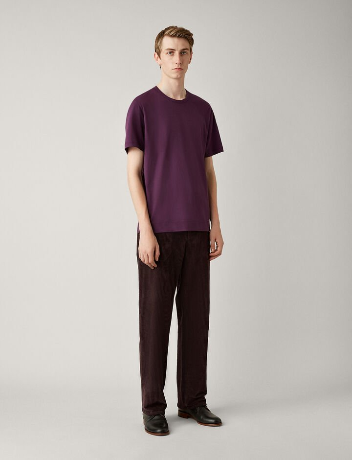 Joseph, Mercerised Jersey Tee, in AUBERGINE