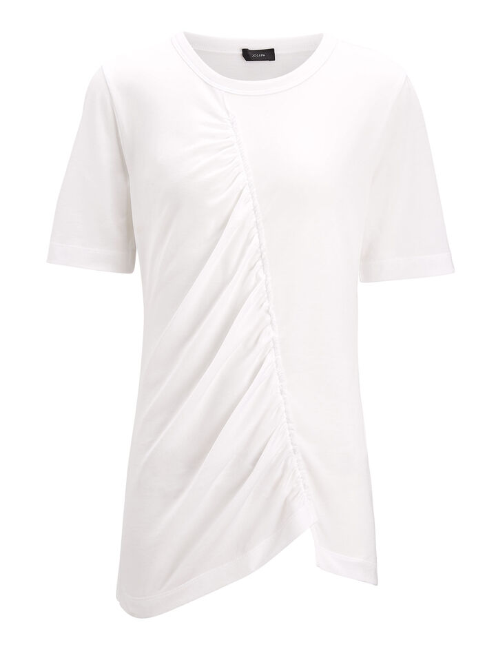 Joseph, Draped Jersey Tee, in WHITE