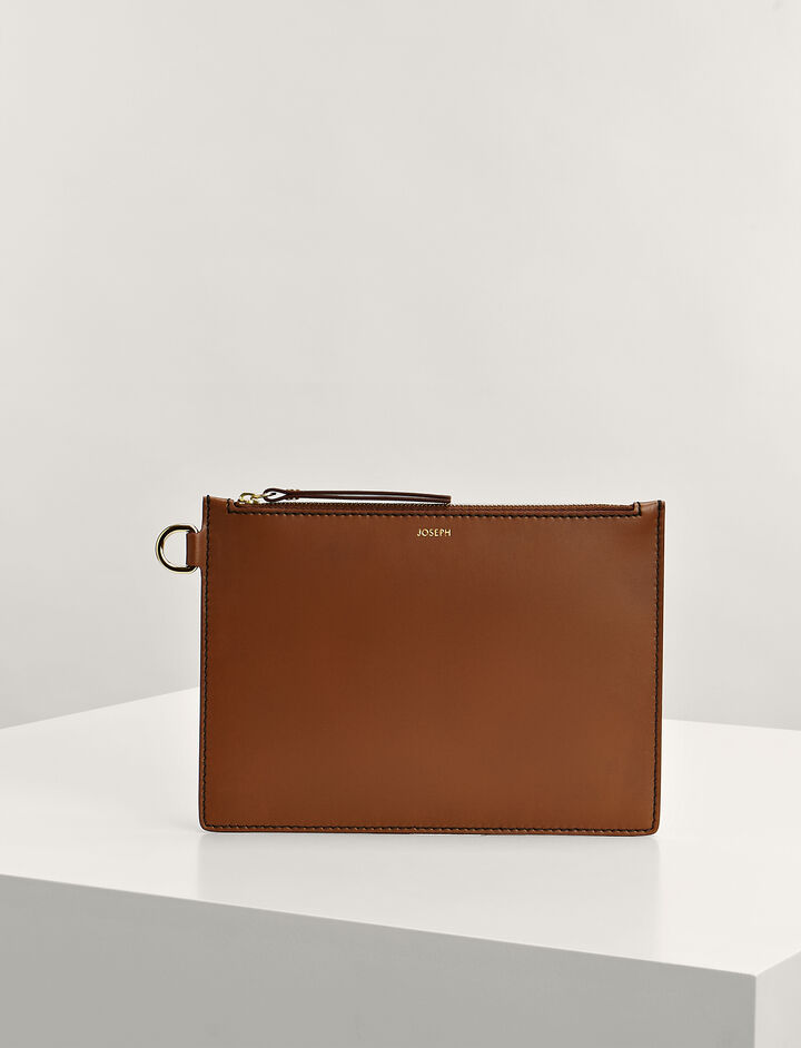 Joseph, Calf-Leather Large Pouch , in SADDLE