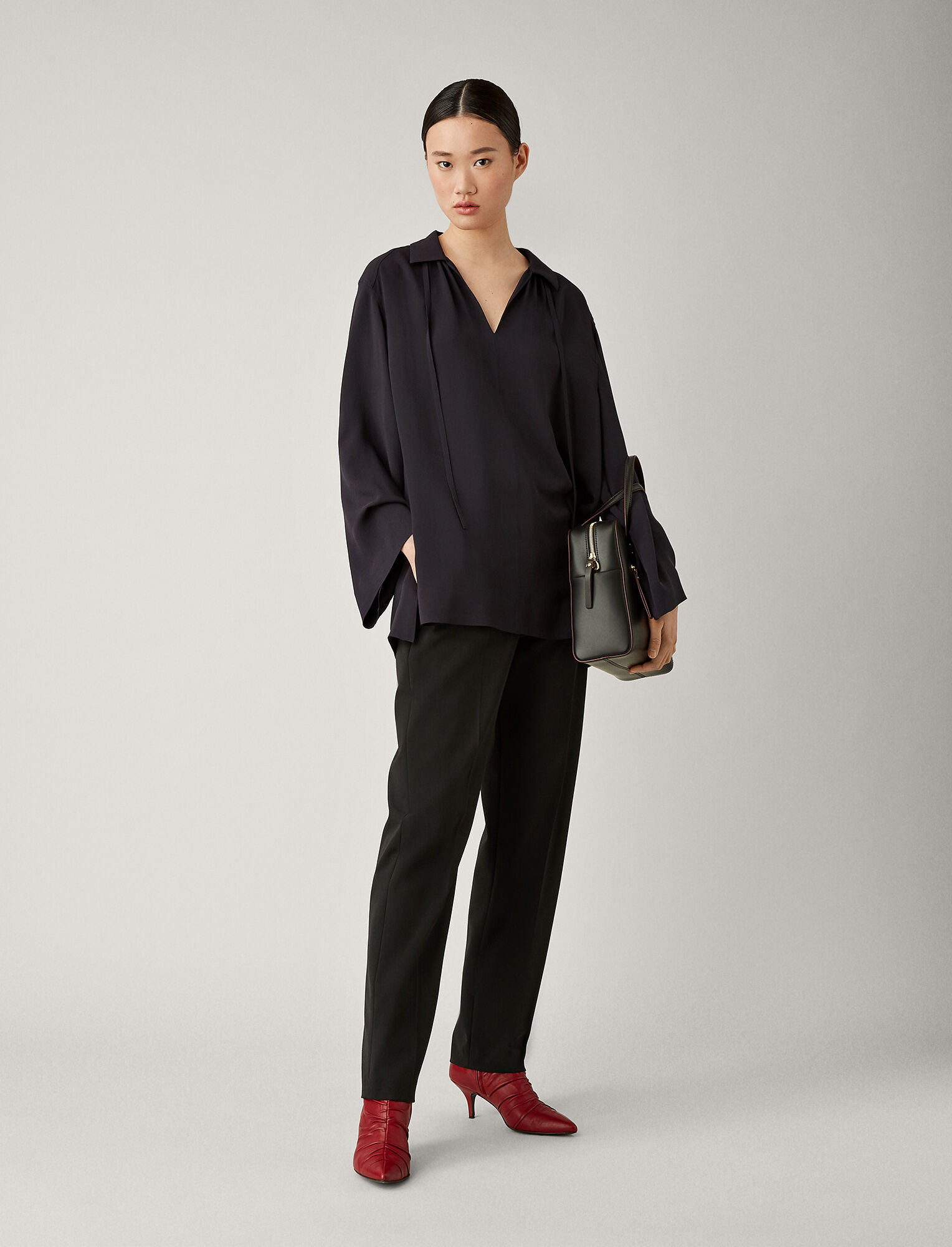 Joseph, Fran Silk Rib Shirting Blouse, in NAVY