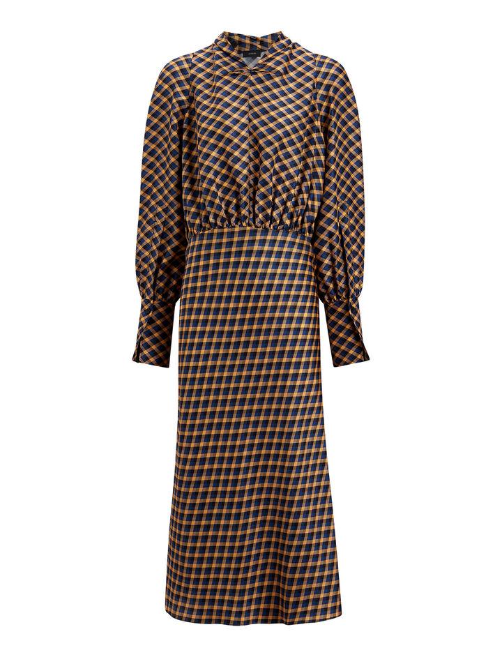 Joseph, Lucian Diamond Weave Print Dress, in PEACH