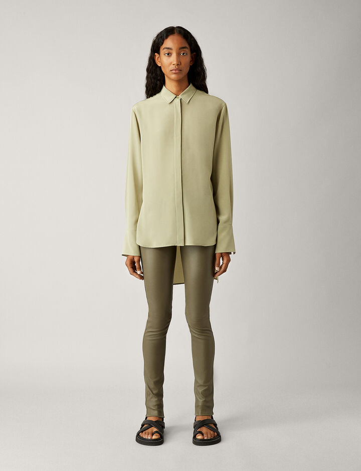 Joseph, Legging-Leather Stretch, in OLIVE