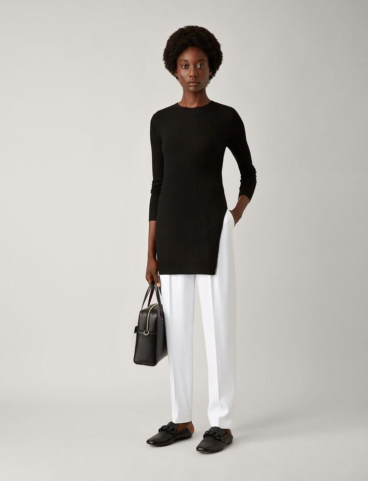 Joseph, Tunic Light Merinos Rib Knit, in BLACK