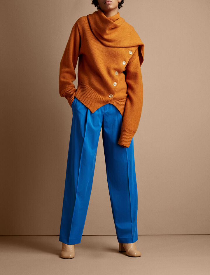 Joseph, Draped Wool Cashmere Knit Sweater, in MARMALADE