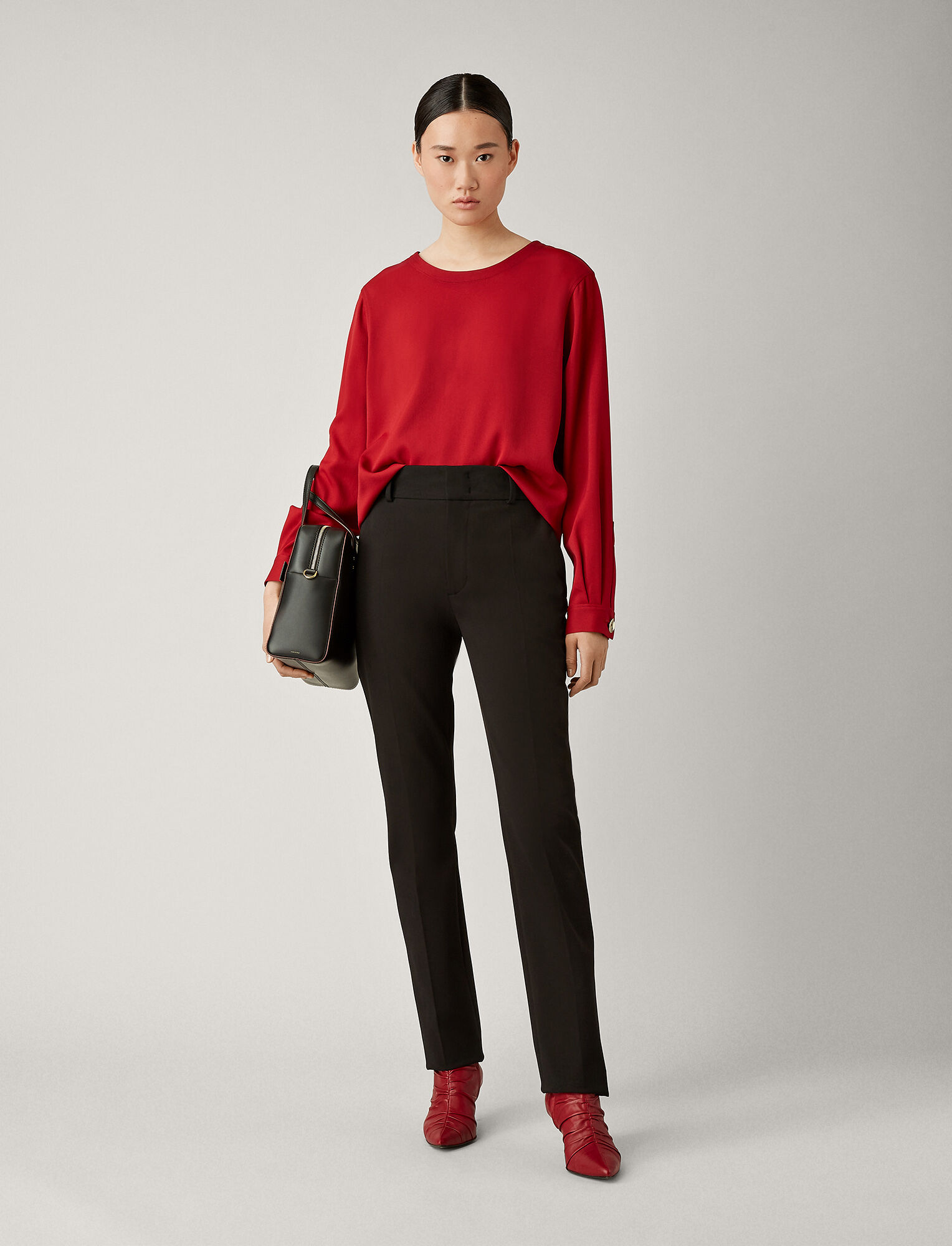 Joseph, Yuli Cotton Bi-Stretch Trousers, in BLACK
