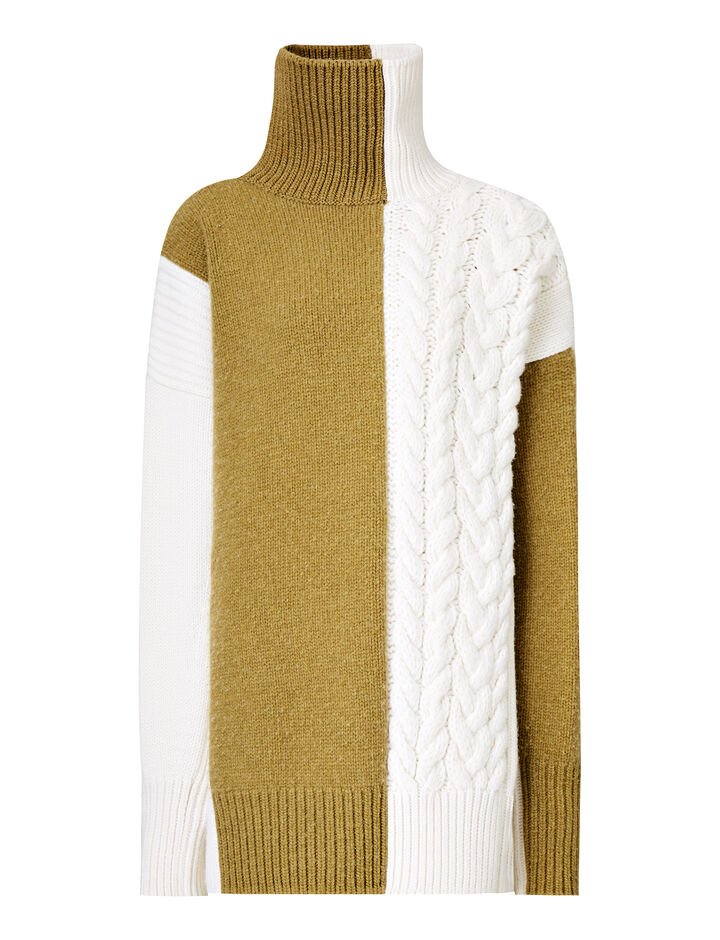 Joseph, Patch Work Sweat Cote Anglaise Knit, in CREAM