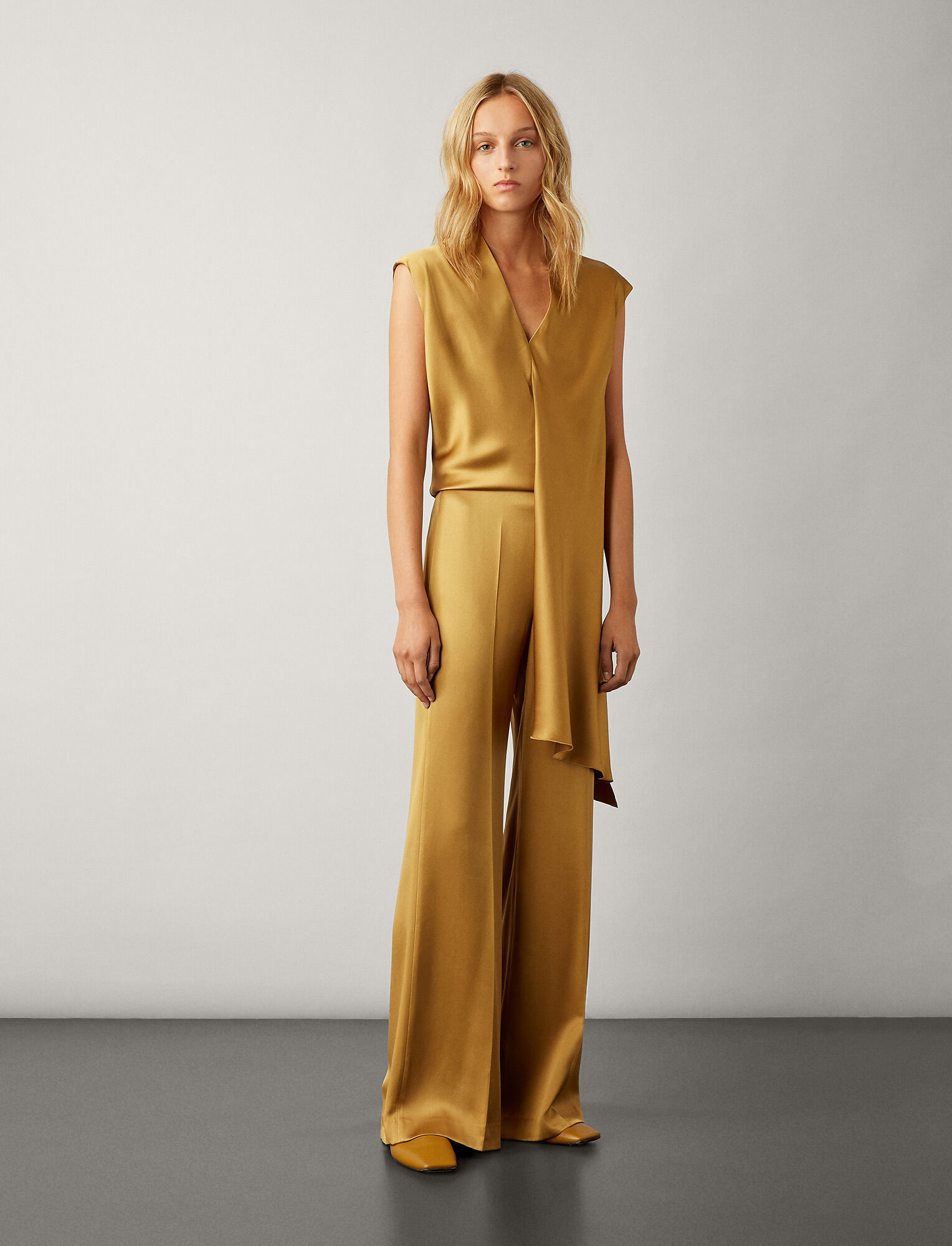 Joseph, Devyn Satin Double Face Trousers, in HAZEL