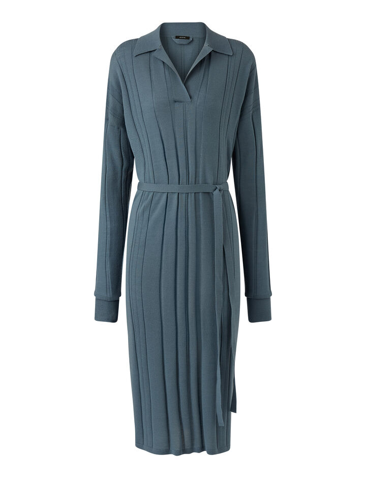 Joseph, O'size Dress-Fine Merinos, in BLUE STEEL