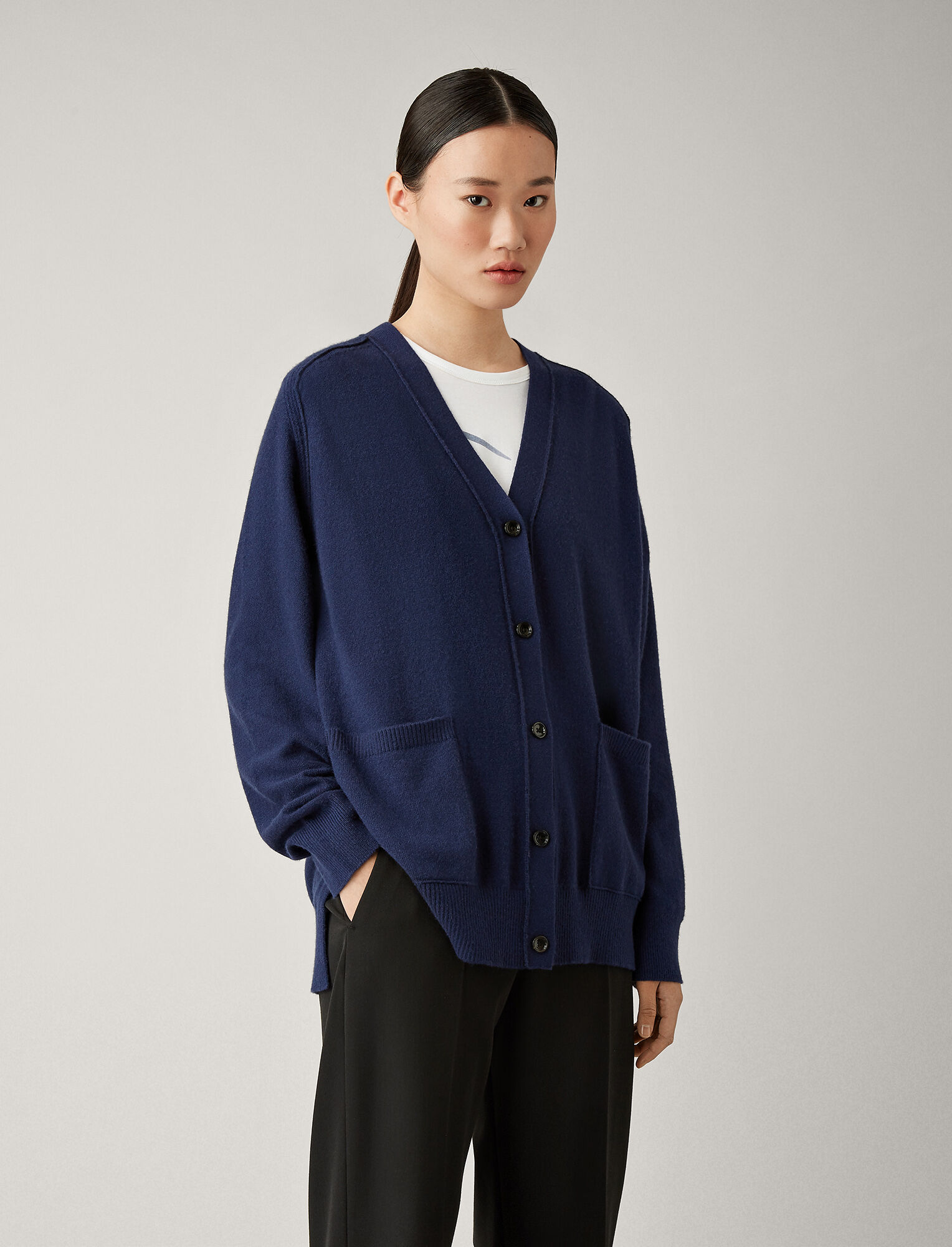 Joseph, Oversized Mongolian Cashmere Cardigan, in ROYAL BLUE