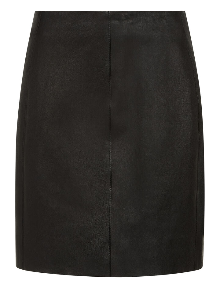 Joseph, Holt Stretch Leather Skirt, in BLACK