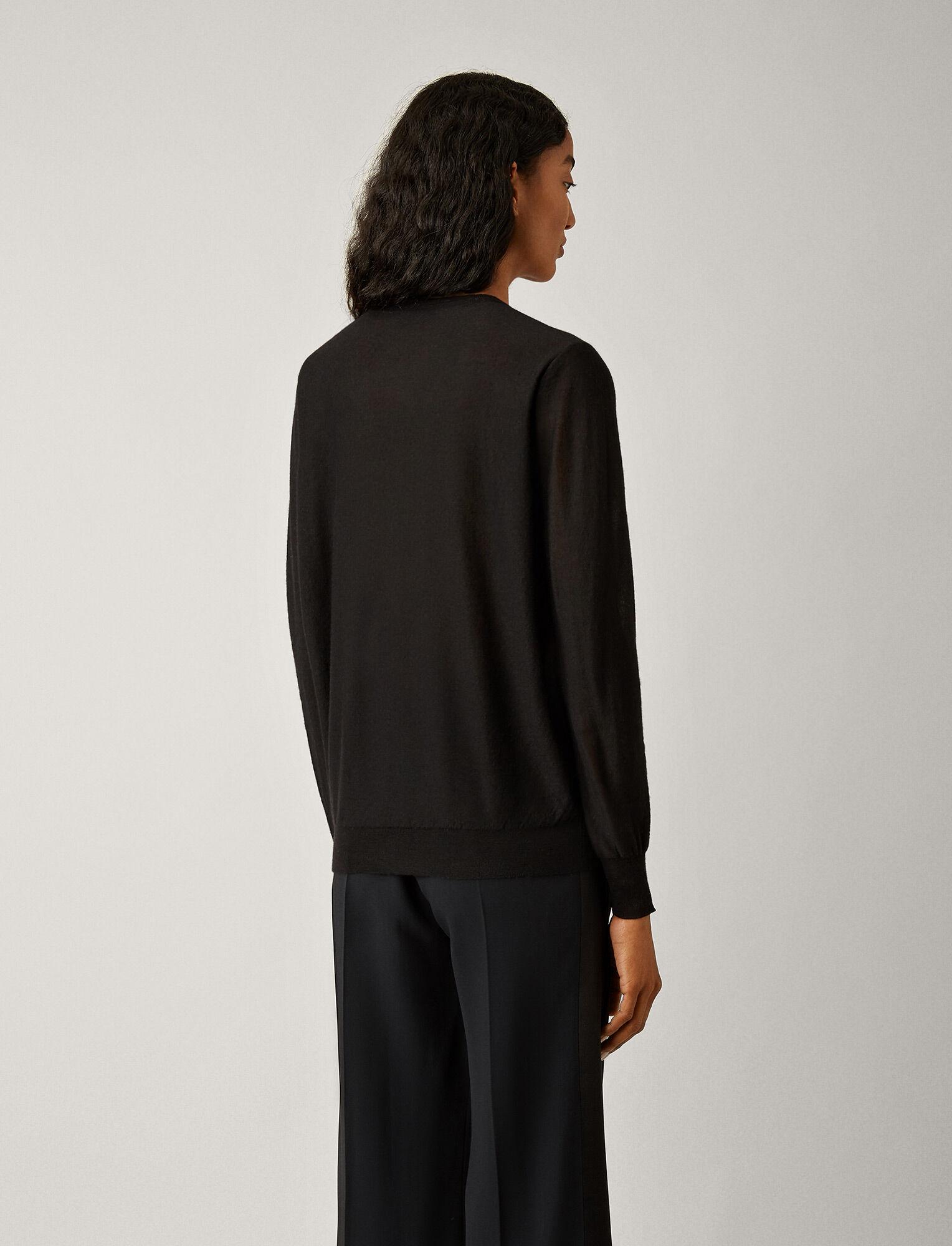 Joseph, V Neck Cashair Knit, in BLACK