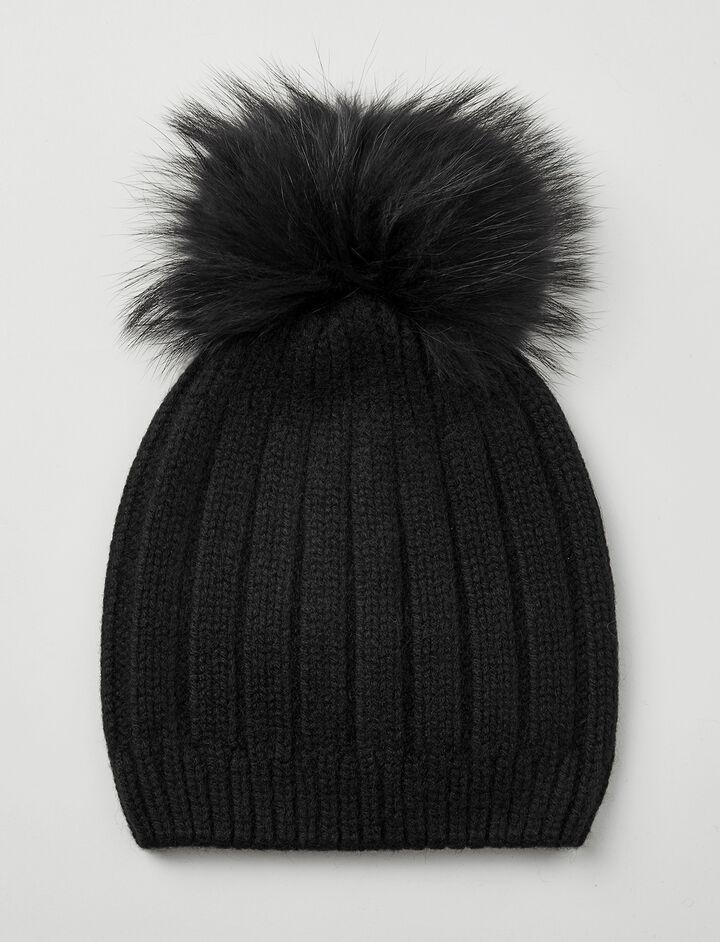 Joseph, Cashmere Luxe Pompon Hat, in BLACK