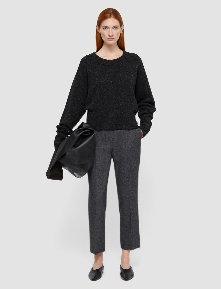 Joseph, Felted Flannel Tape Trousers, in Graphite