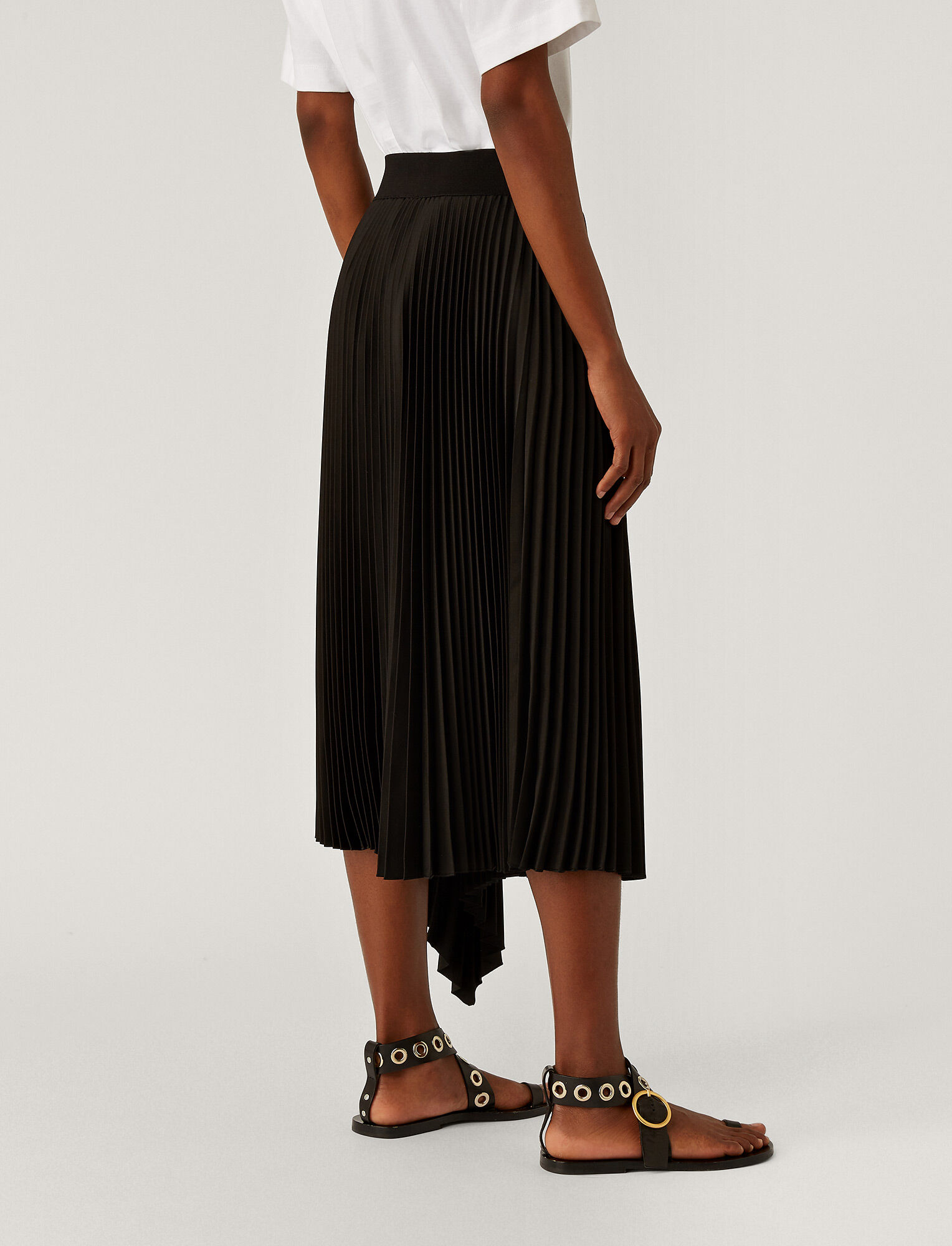 Joseph, Sabin Knit Weave Plissé Skirt, in Black