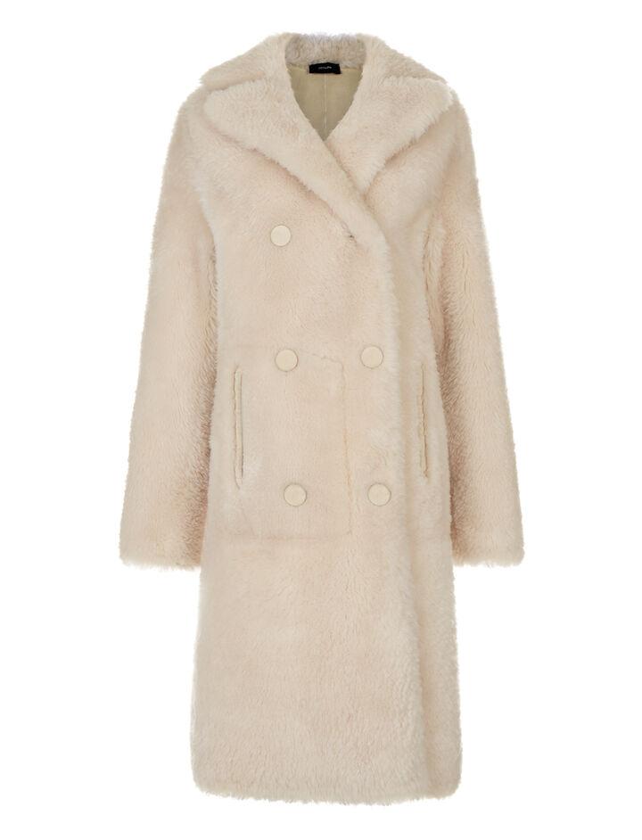 Joseph, New Hector Long Teddy Merinos Coat, in ECRU