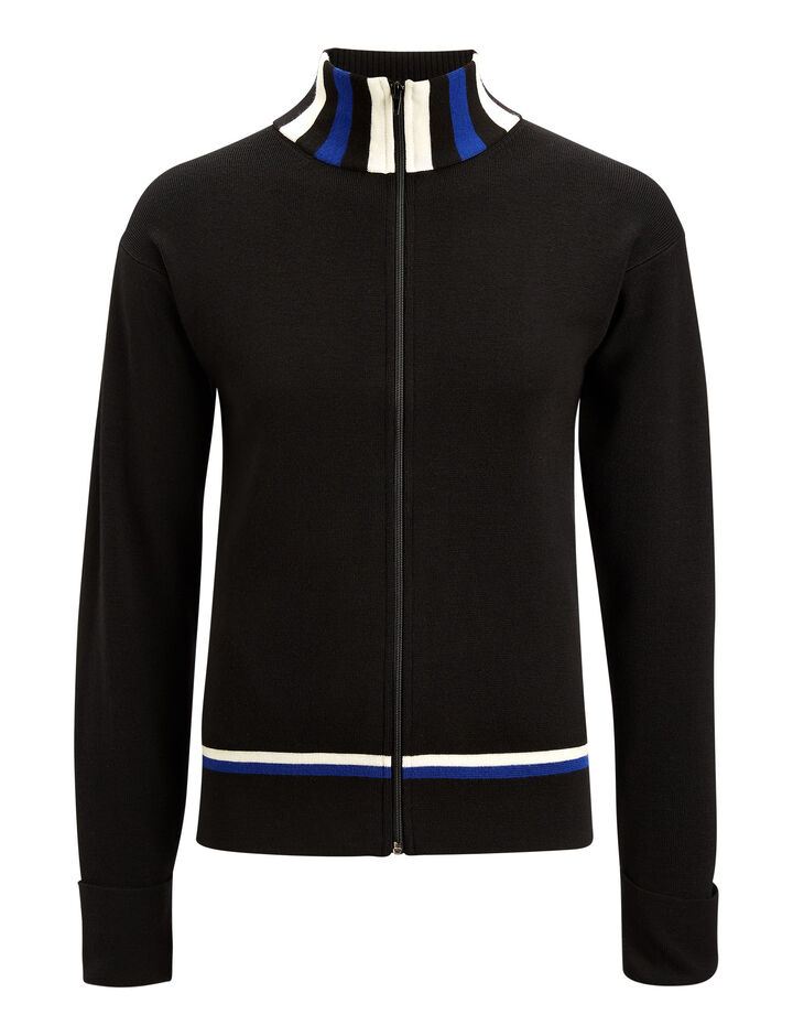 Joseph, Zip Up Cardigan Sports Milano Knit, in BLACK