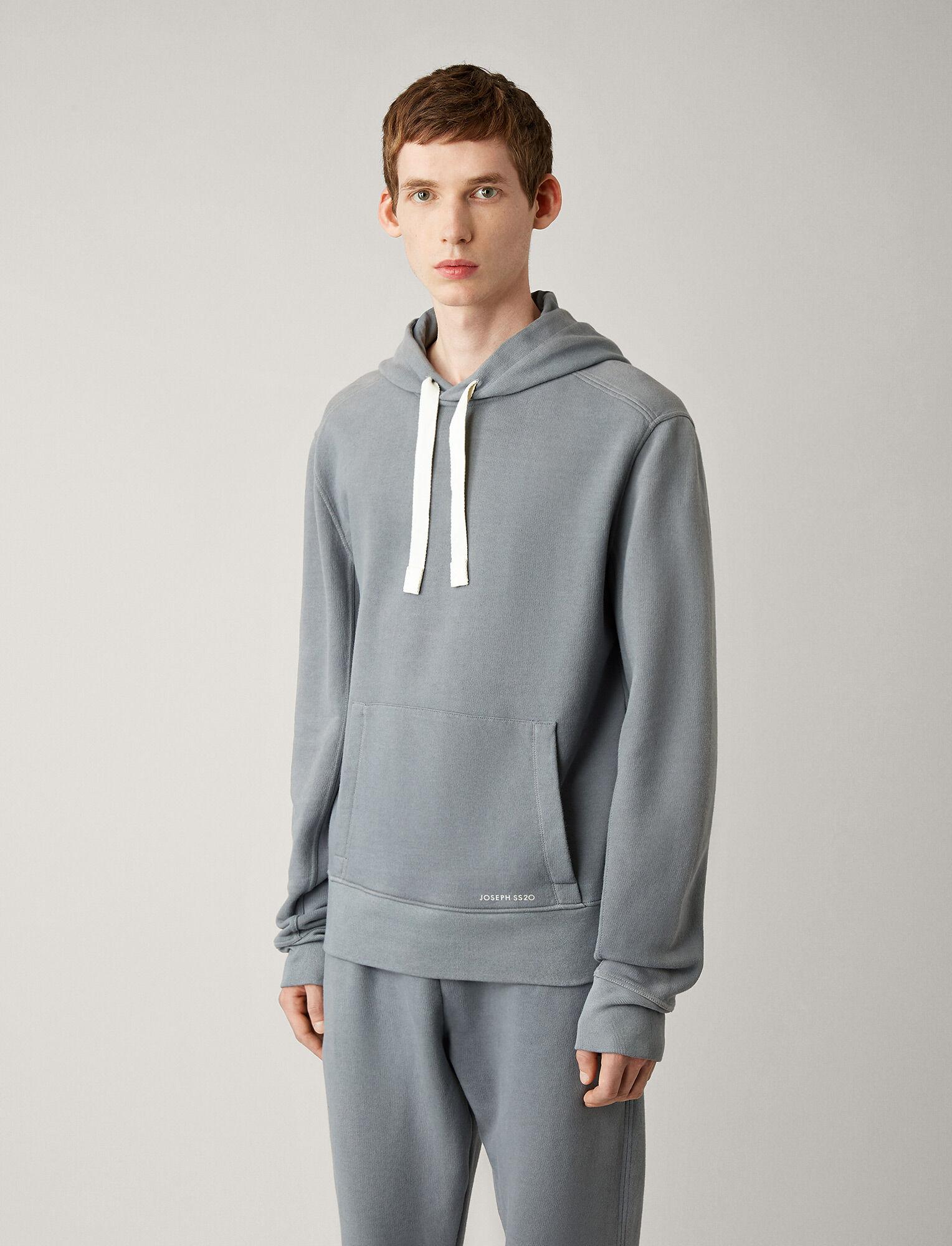 Joseph, Hoody Garment Dye Molleton Jersey, in STEEL