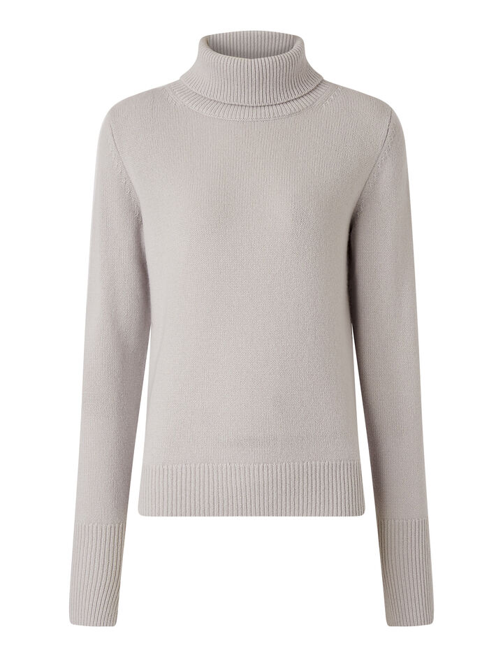 Joseph, High Nk Ls-Pure Cashmere, in SILVER