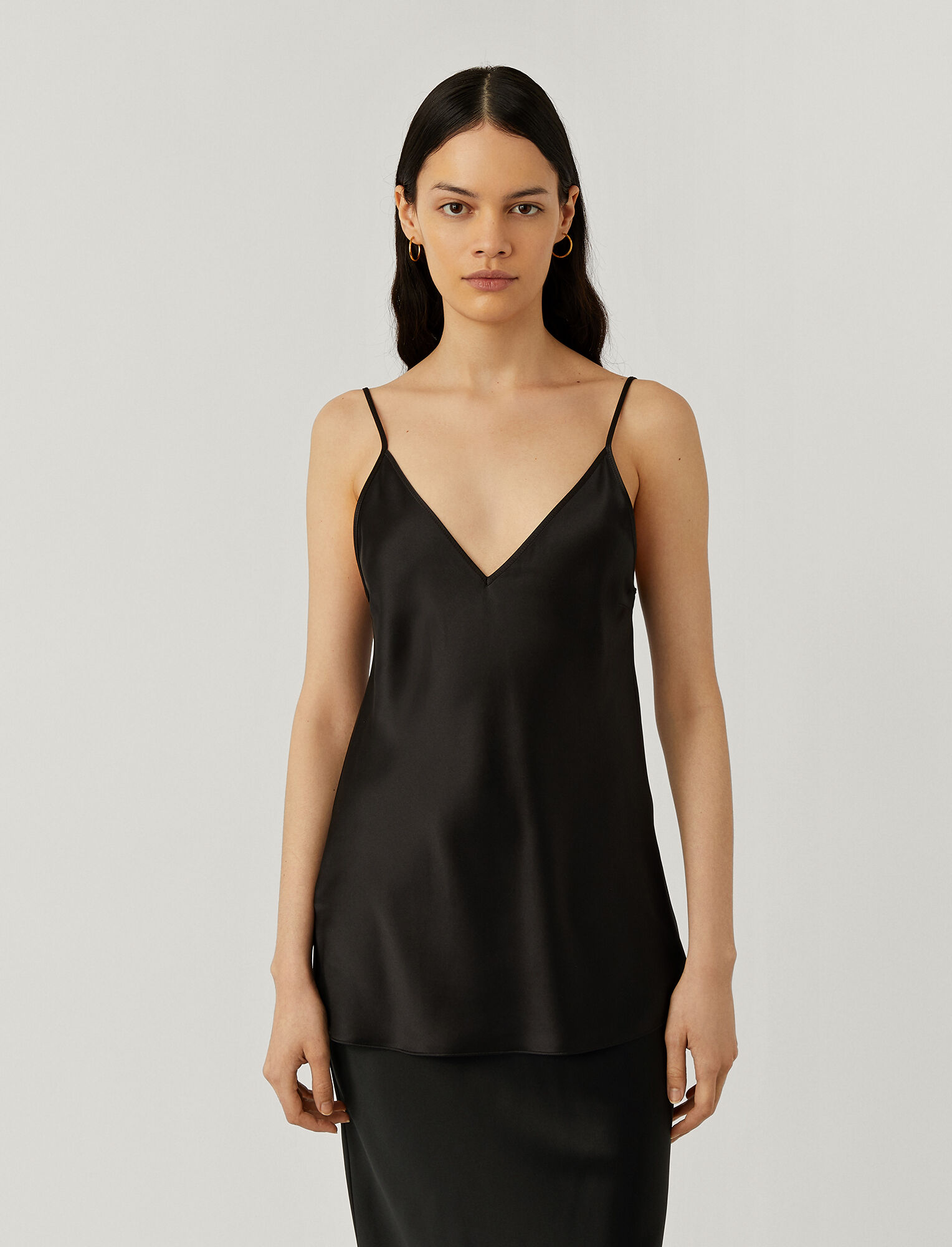 Joseph, Cleo Silk Satin Top, in BLACK