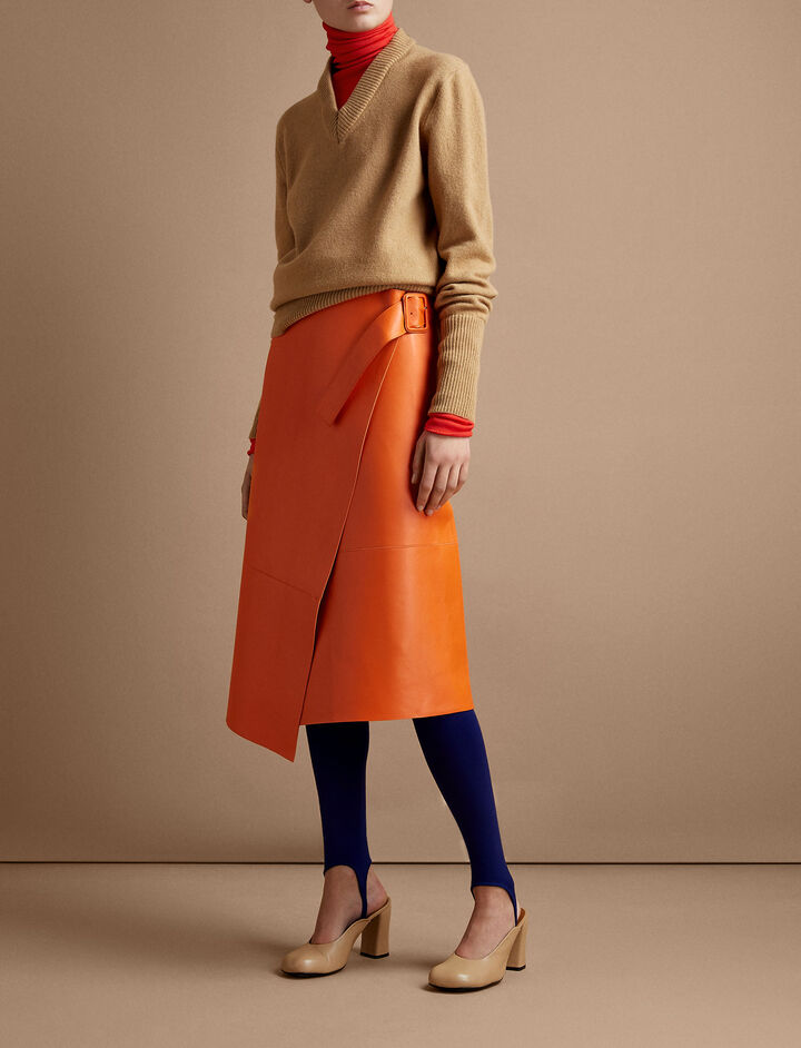 Joseph, Ronley Bonded Leather Skirt, in MARMALADE