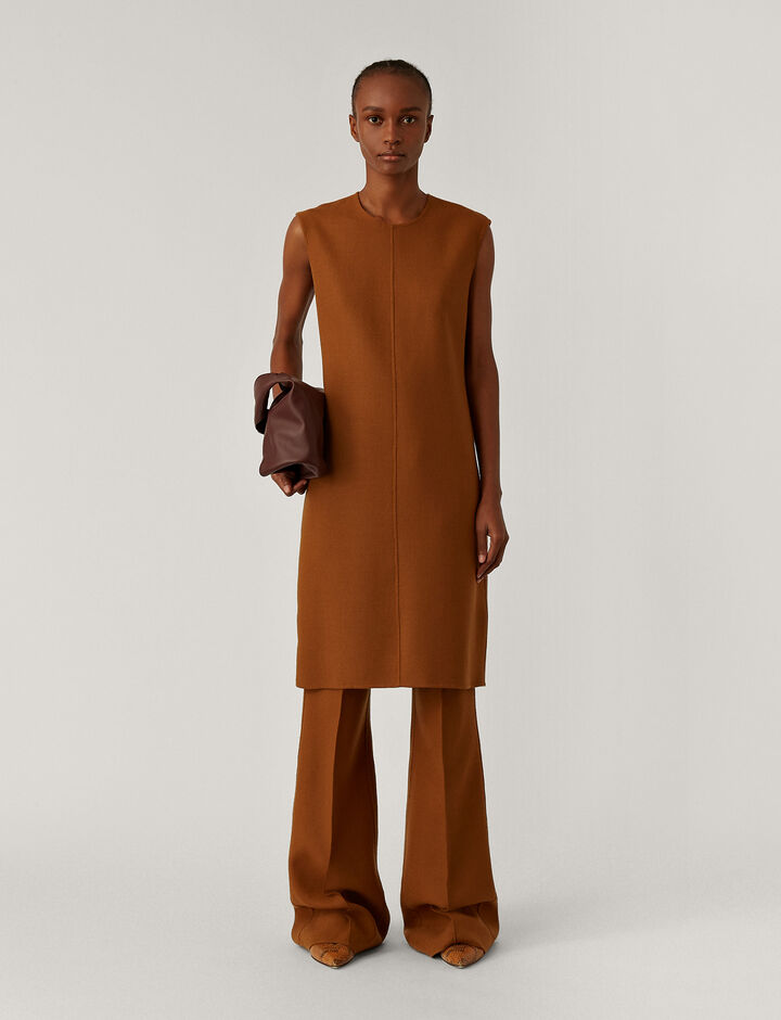 Joseph, Dantine Stretch Double Face Dresses, in Cognac