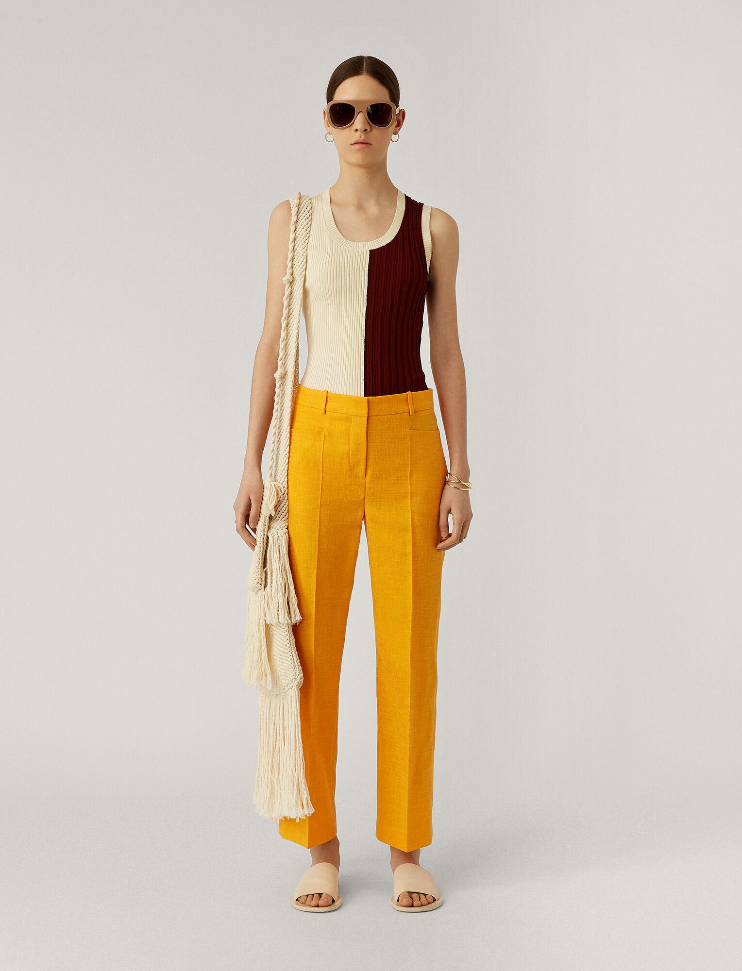 Joseph, Sloe Shantung Linen Trousers, in TANGERINE