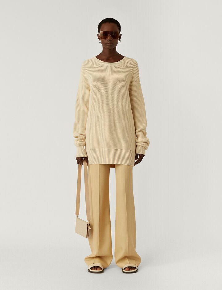 Joseph, Rd Nk Ls-Egyptian Cotton, in IVORY