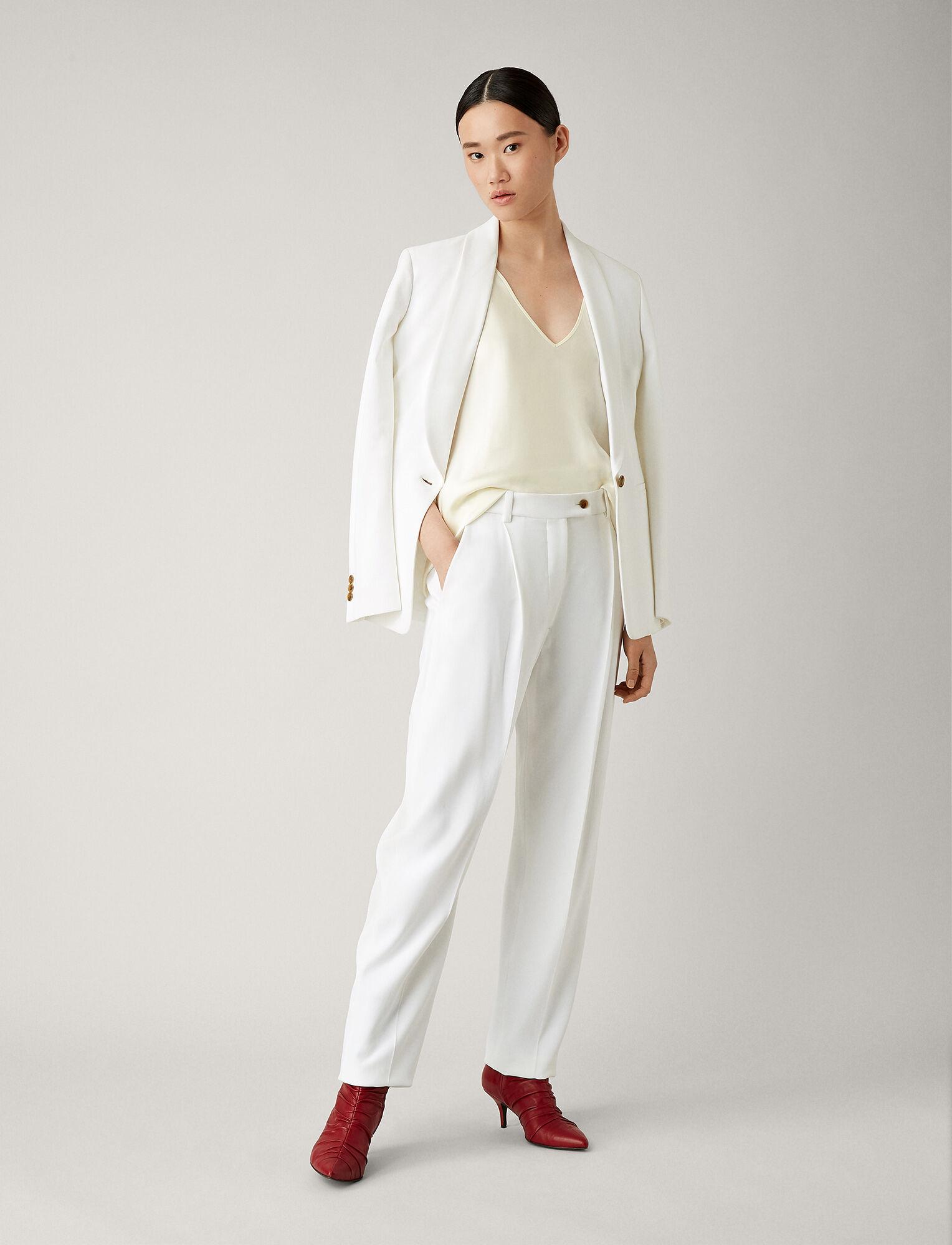 Joseph, Arbala Stretch Acetate Viscose Trousers, in WHITE