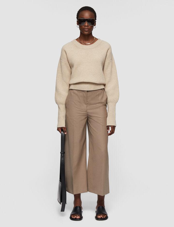 Joseph, Soft Wool Granite Travis Trousers, in TAUPE