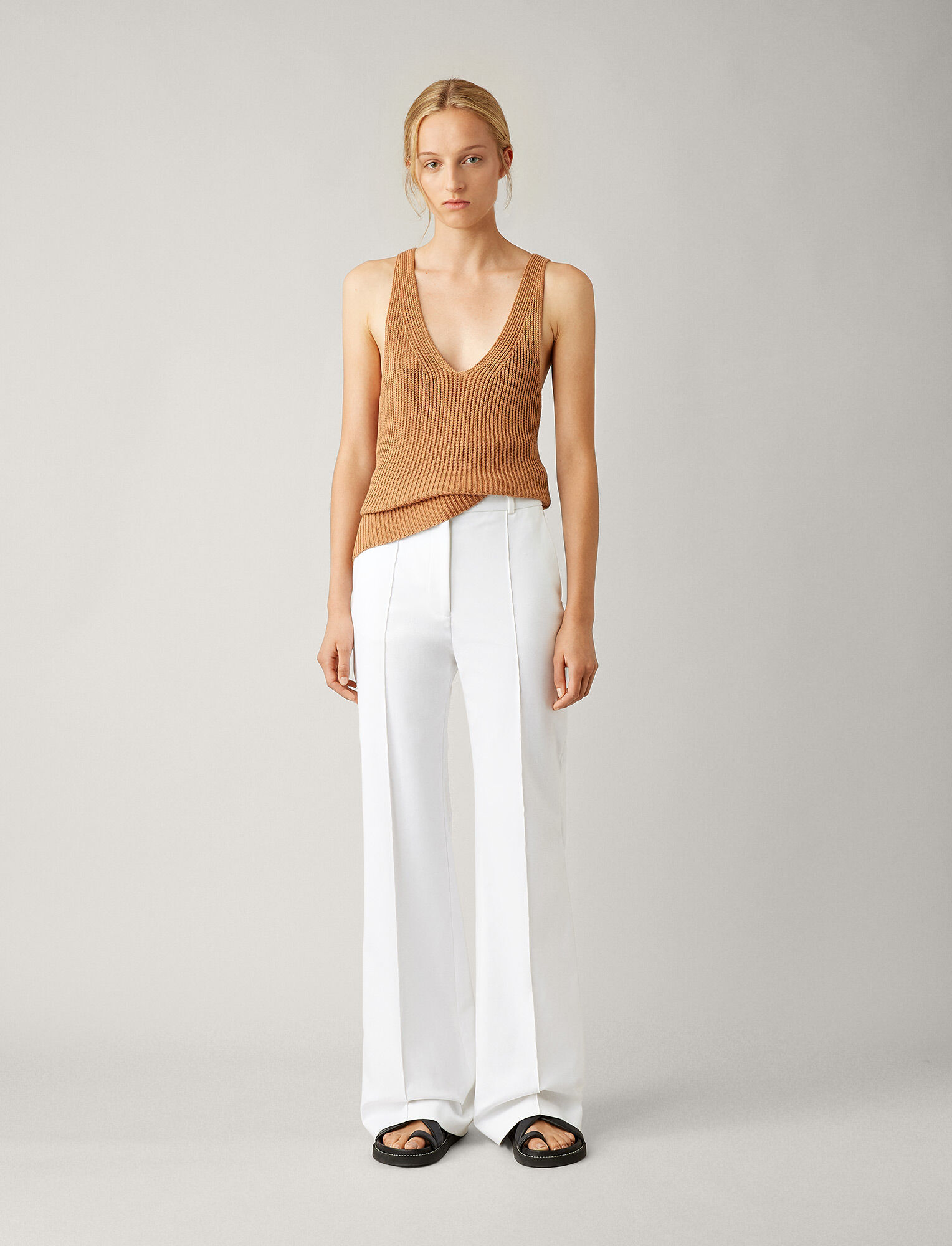 Joseph, Richard Double Cotton Stretch Trousers, in WHITE