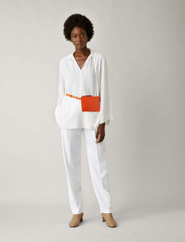 Joseph, Fran Silk Rib Shirting Blouse, in WHITE