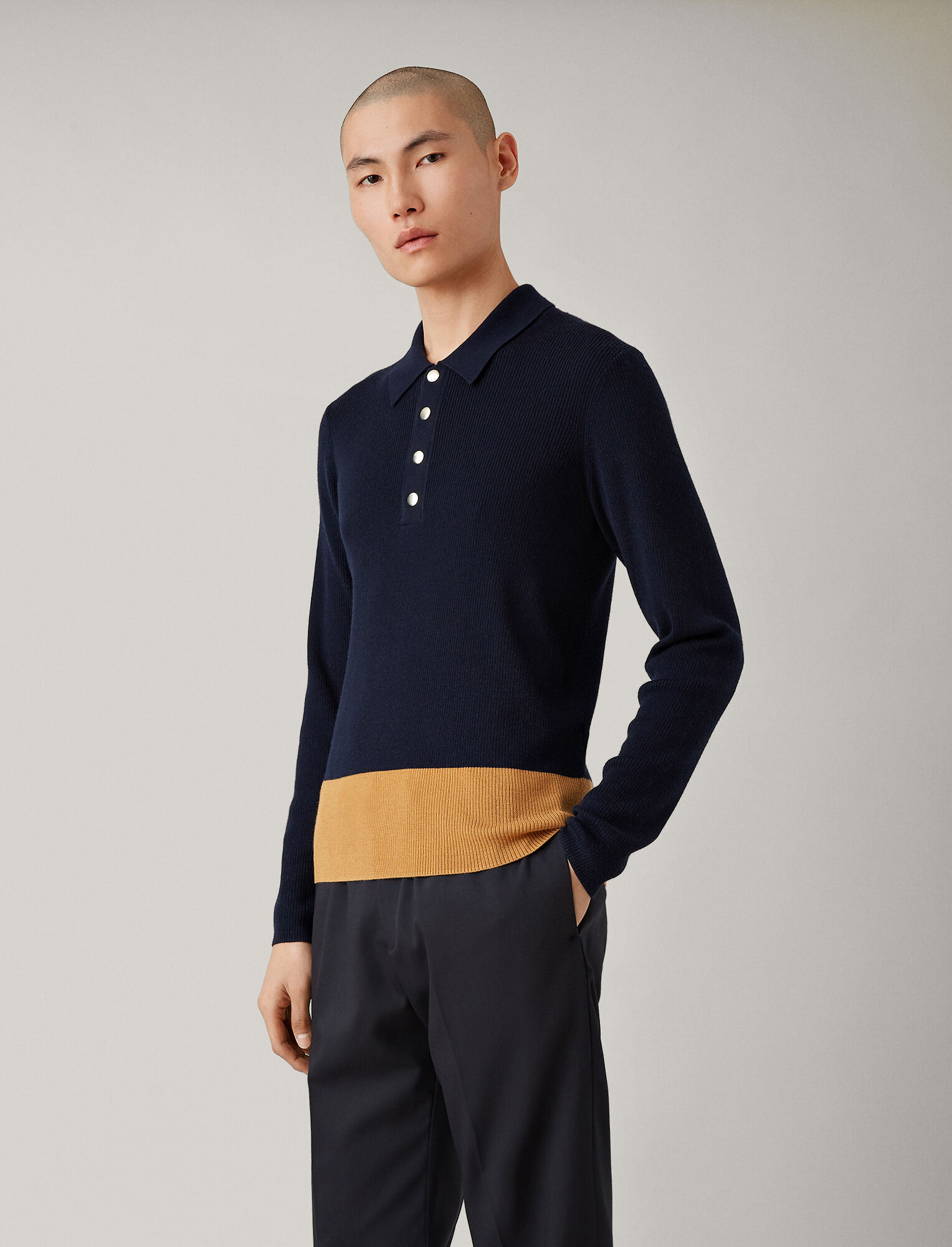 Joseph, Polo Neck Fine Rib + Snaps Knit, in NAVY