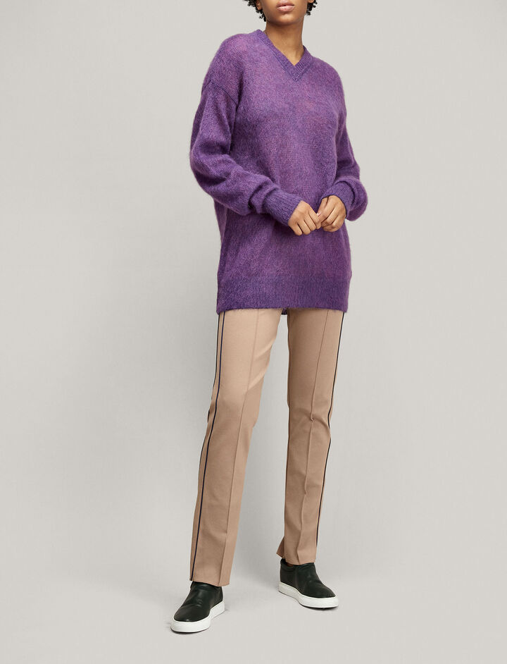Joseph, V Neck Oversize Brushed Mohair Knit, in VIOLET