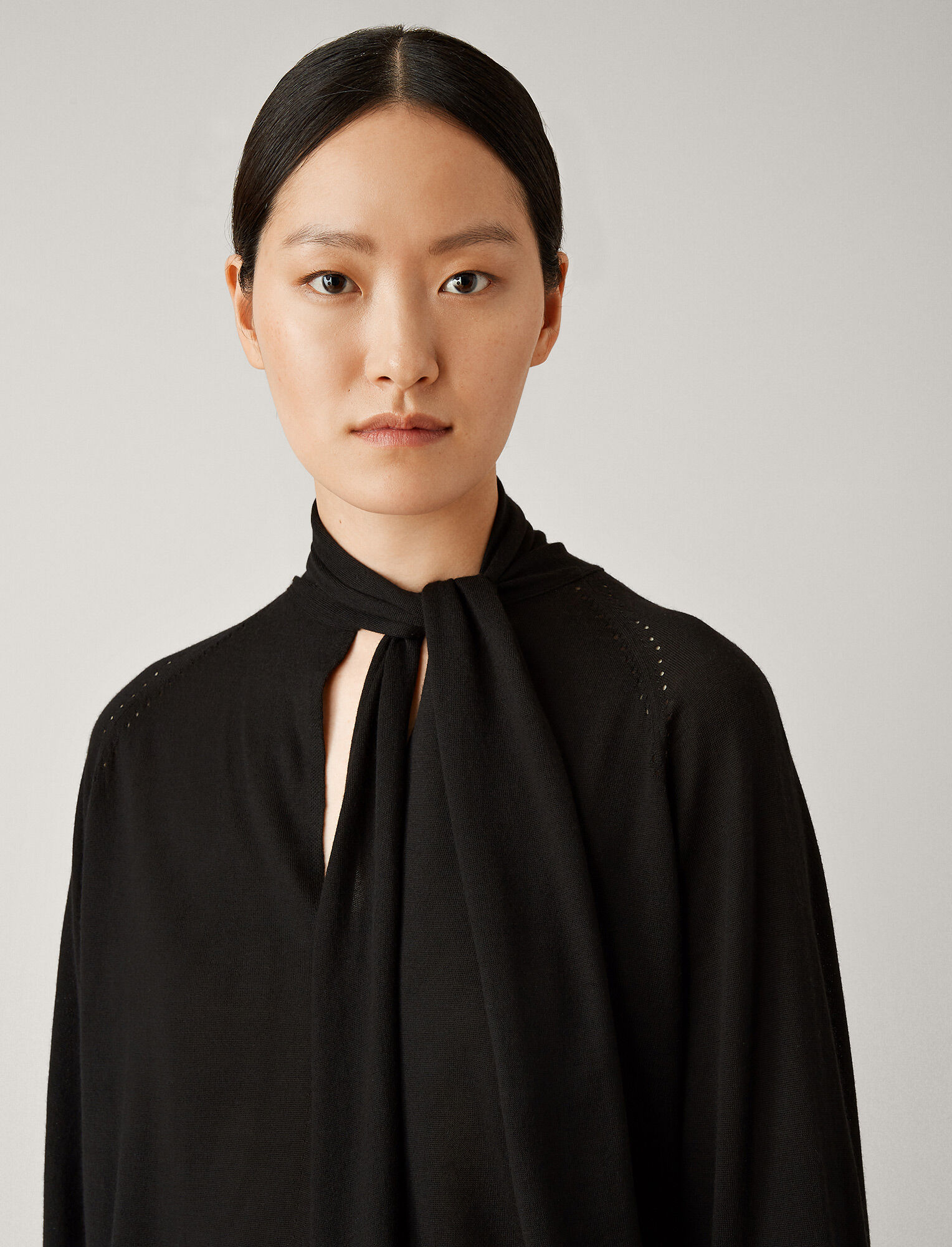 Joseph, Silk Merinos Knit Kaftan, in BLACK