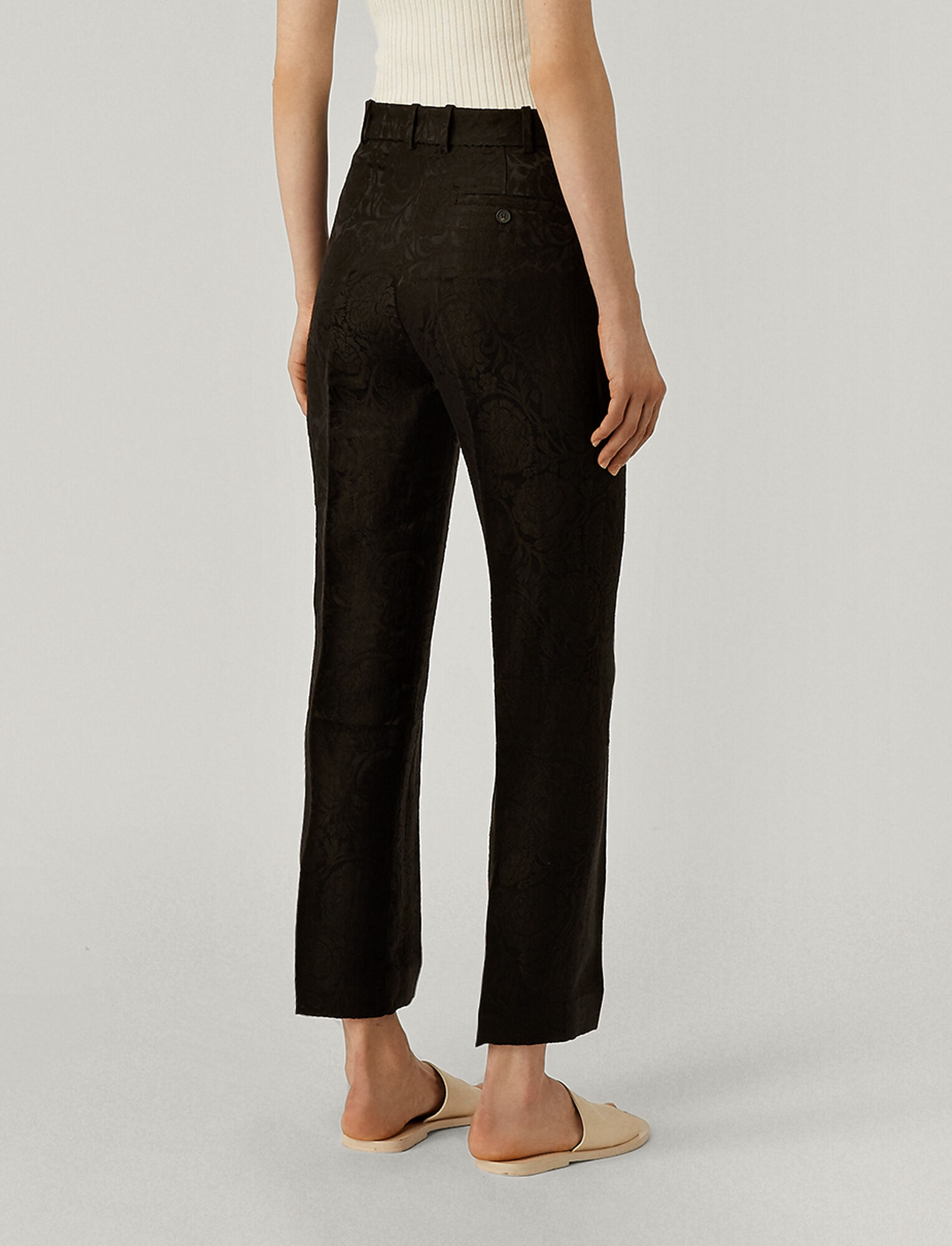 Joseph, Sloe Damask Trousers, in BLACK