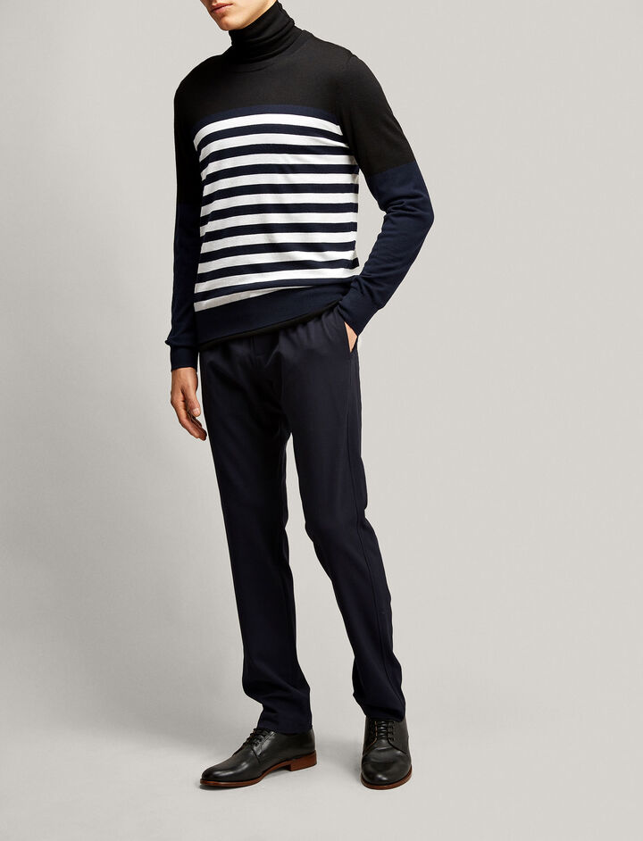 Joseph, Stripe Merinos Novelty Knit, in BLACK