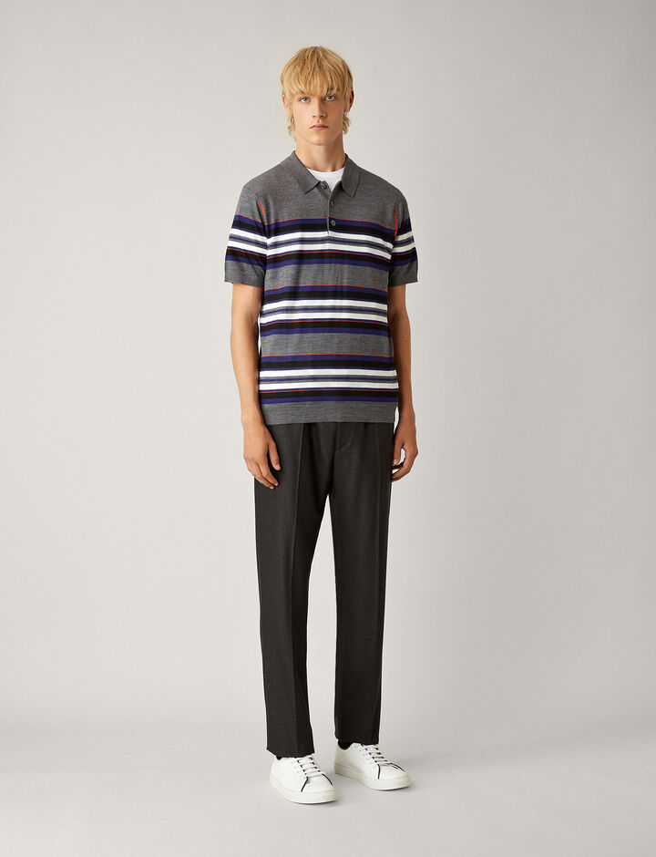 Joseph, Polo Lght Stripe Merinos Knit, in CHARCOAL
