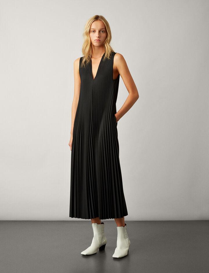 Joseph, Enid Pleated Wool Dress, in BLACK