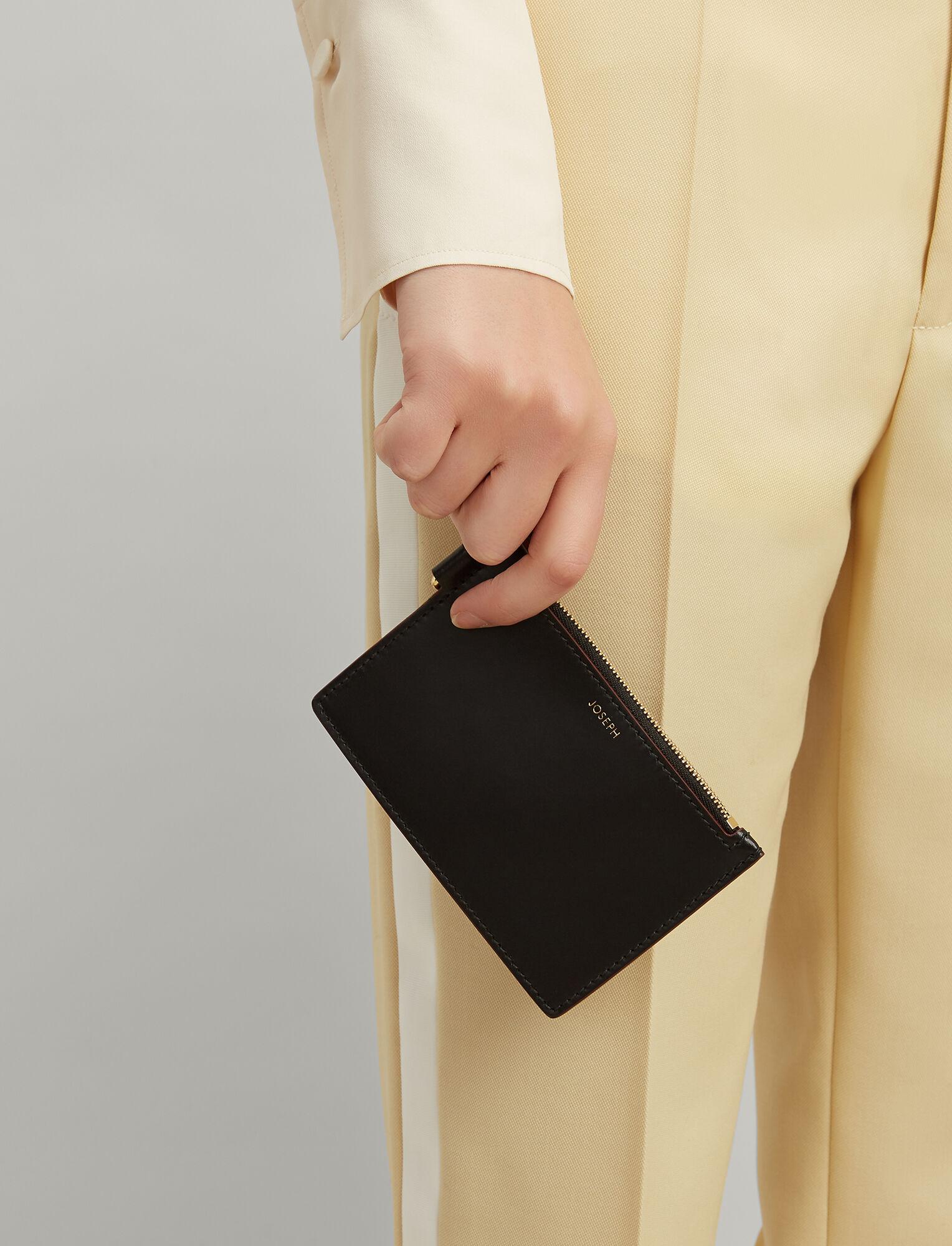 Joseph, Calf Leather Coin Purse, in BLACK