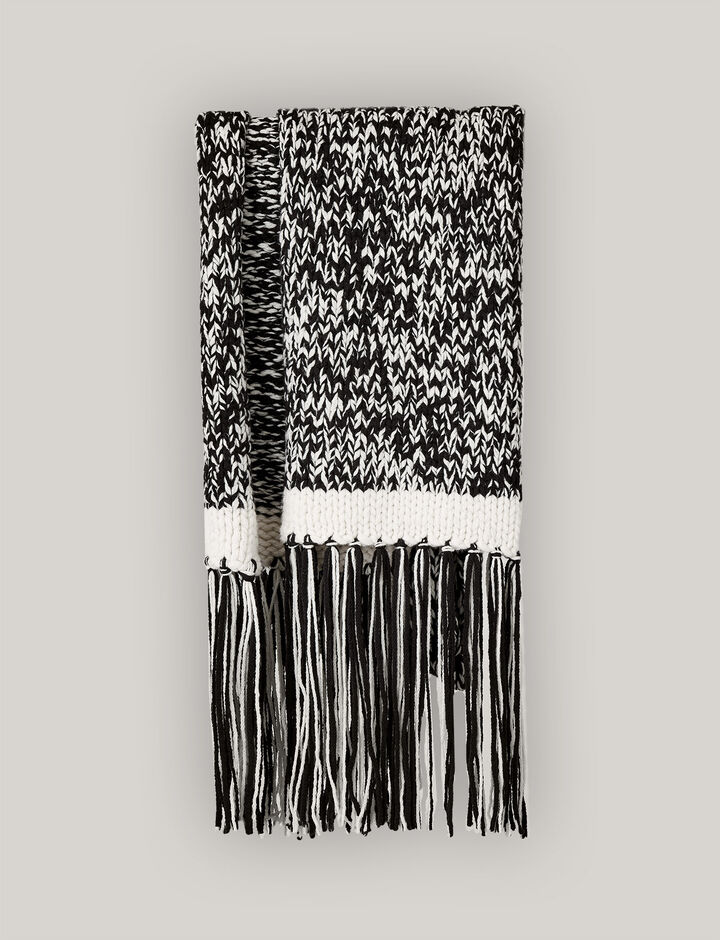 Joseph, Hand Knit Mouliné Scarf, in BLACK/ECRU