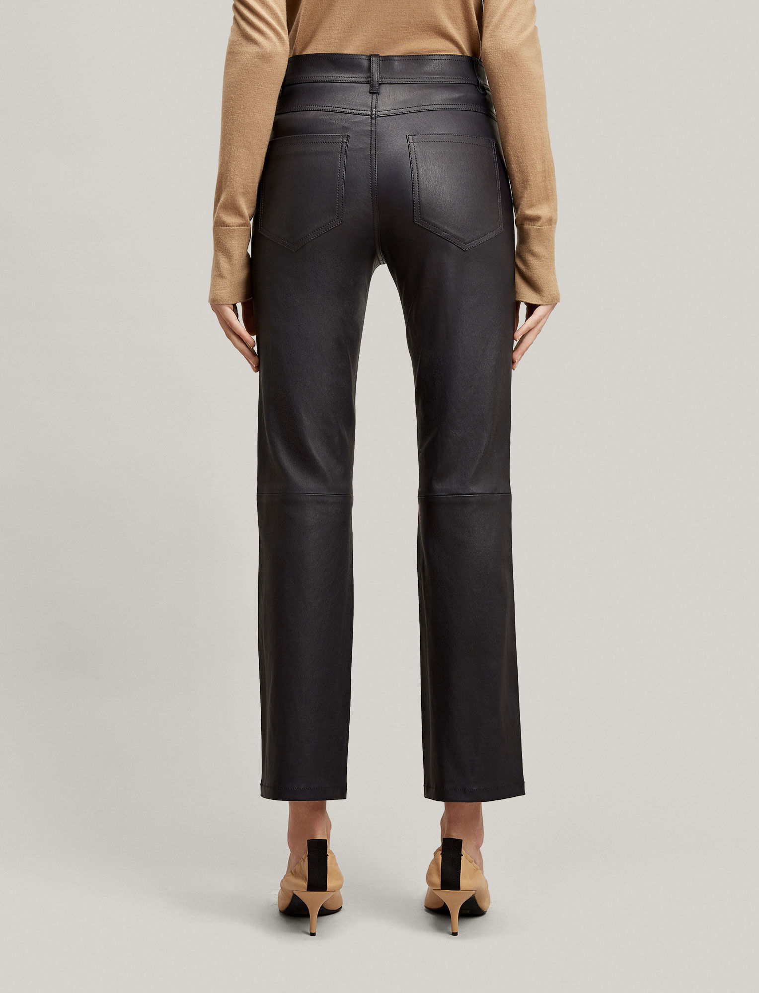Joseph, Pantalon Den en cuir stretch, in NAVY