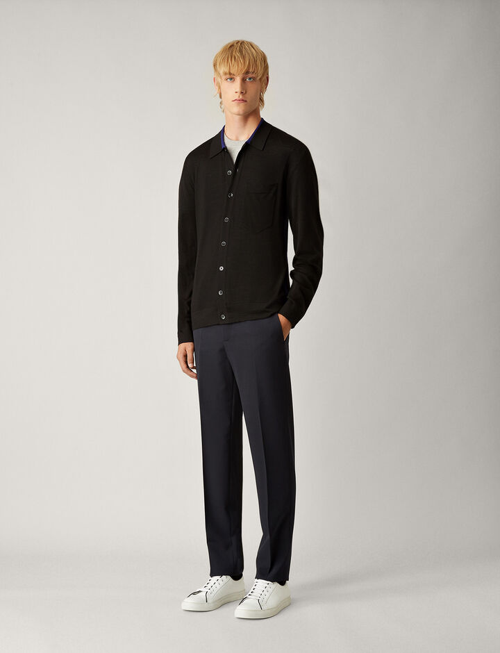 Joseph, Shirt Light Merinos Knit, in BLACK