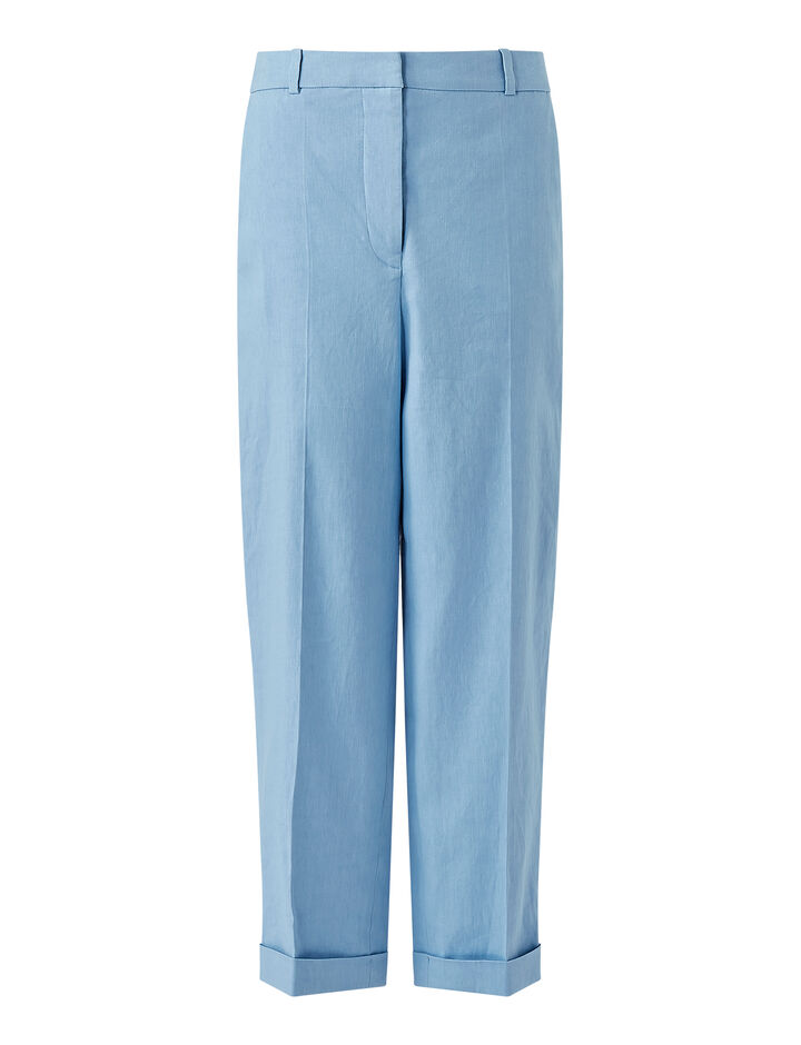 Joseph, Stretch Linen Cotton Trina Trousers, in CERULEAN