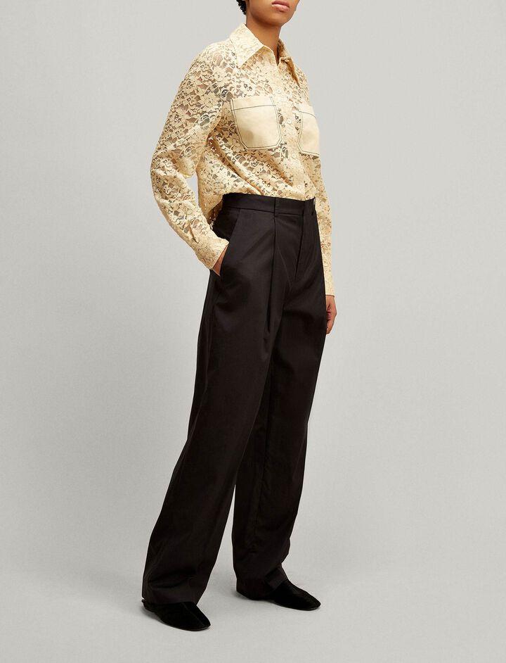 Joseph, Riska High Twist Cotton Trousers, in BLACK