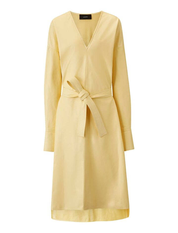Joseph, Dalamo Leather Dress, in BANANA
