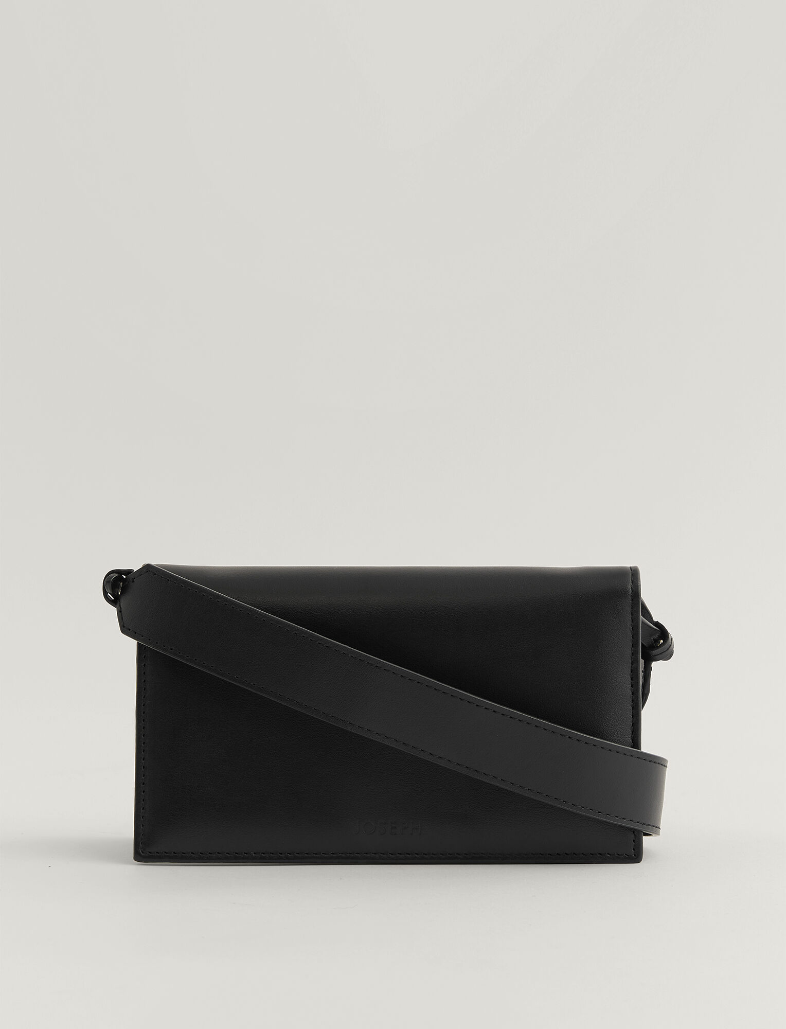 Joseph, Leather Shoulder Wallet, in BLACK